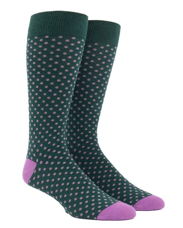 Pindot Hunter Green Dress Socks