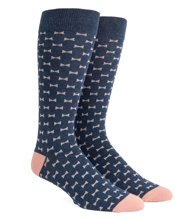 Bow Tie Navy Dress Socks