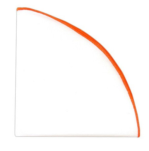 White Cotton Round With Border Tangerine Pocket Square