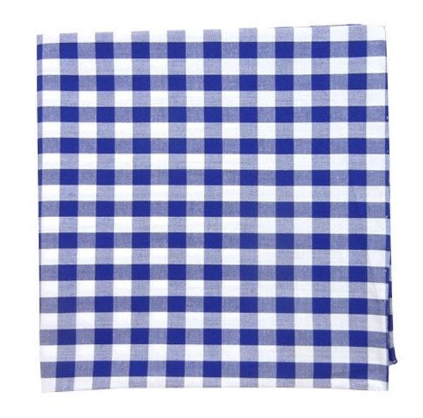 Cotton Table Plaid Royal Blue Pocket Square