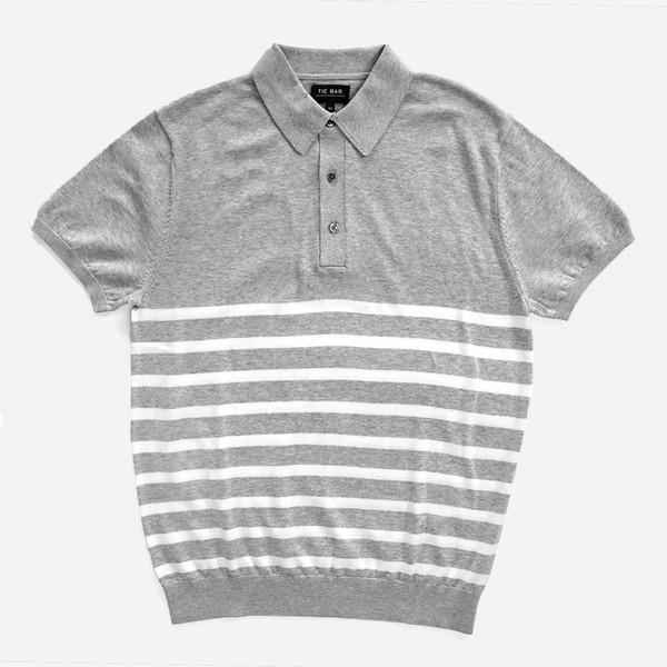 Horizontal Stripe Cotton Sweater Grey Polo