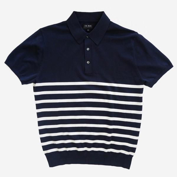 Horizontal Stripe Cotton Sweater Navy Polo