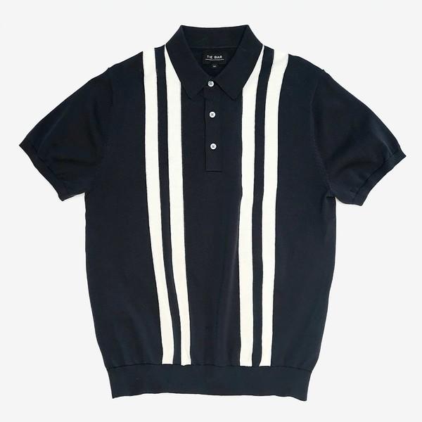 Vertical Stripe Cotton Sweater Navy Polo