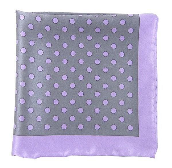 Big Printed Dots Silver Pocket Square