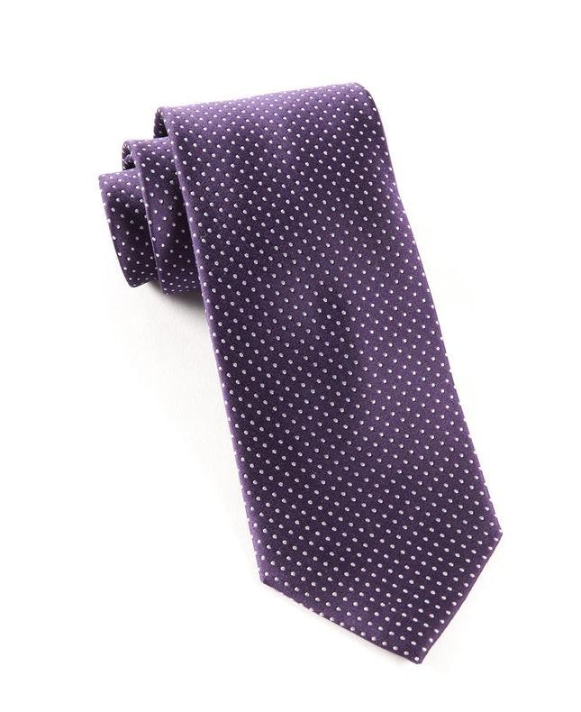 Pindot Eggplant Tie