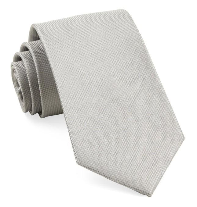 Solid Texture Silver Tie