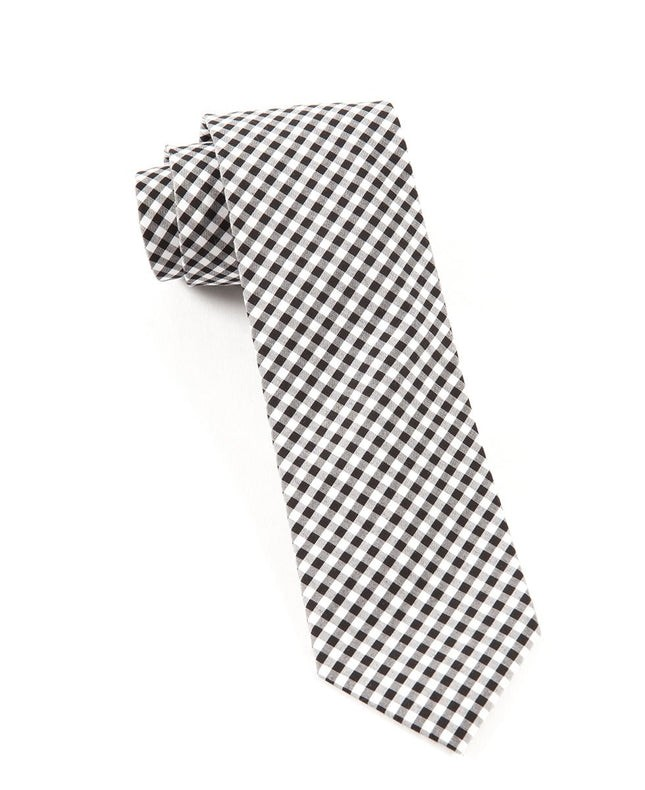 Novel Gingham Black Tie