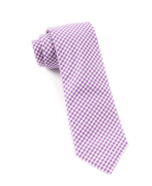 Petite Gingham Plum Tie
