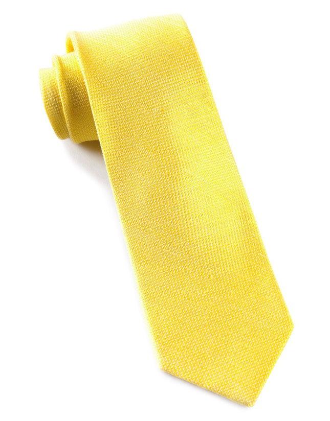 Solid Linen Butter Gold Tie