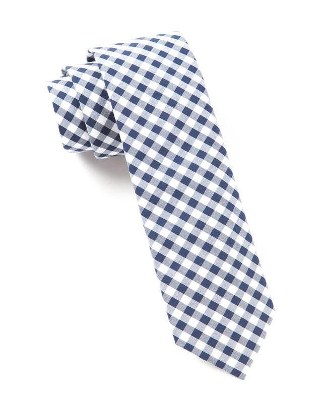 New Gingham Navy Tie