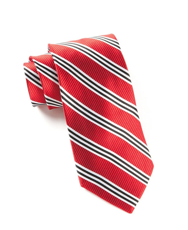 Bar Stripes Red Tie