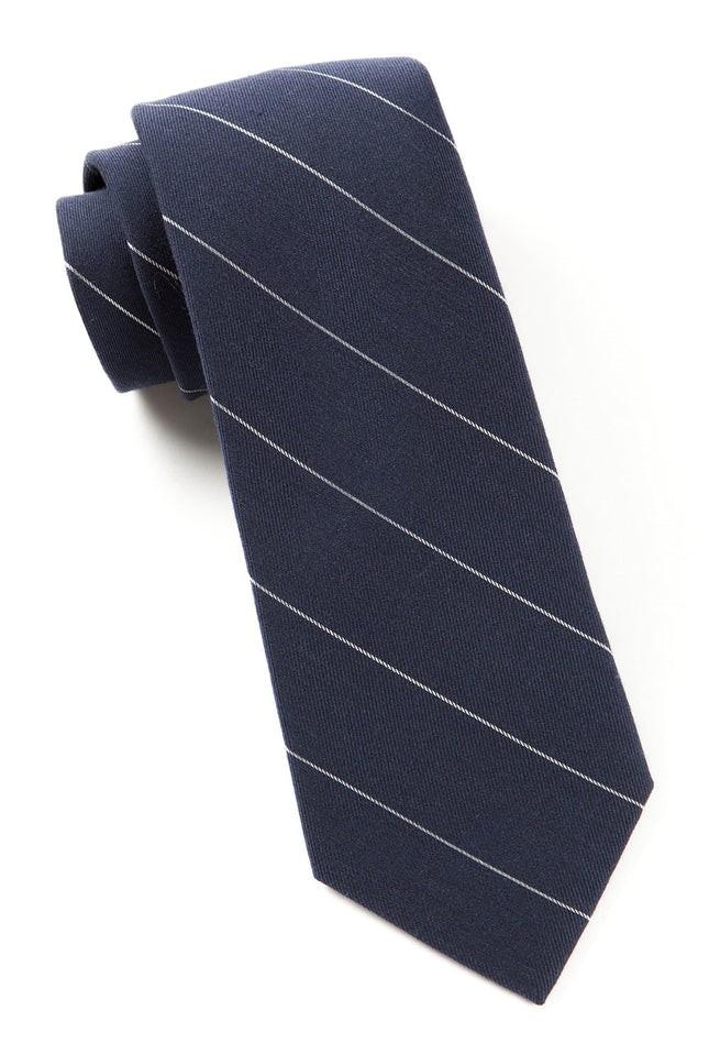 Wool Stripe Navy Tie