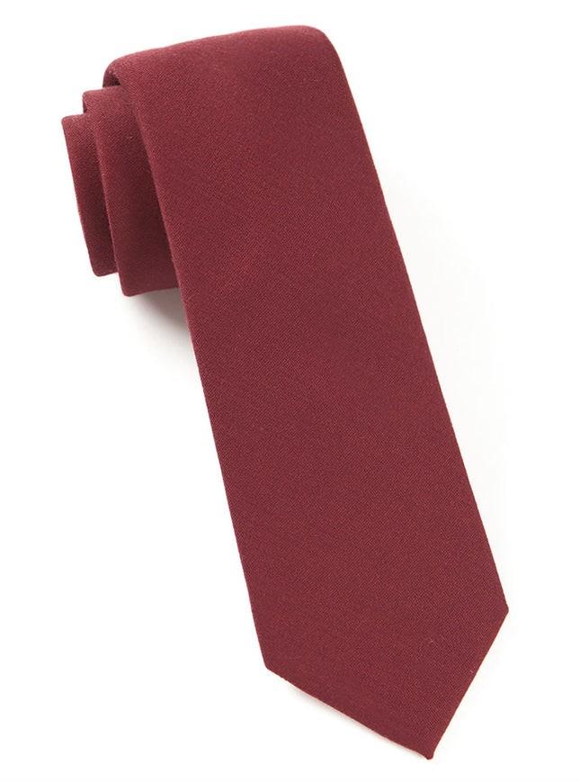 Solid Wool Burgundy Tie