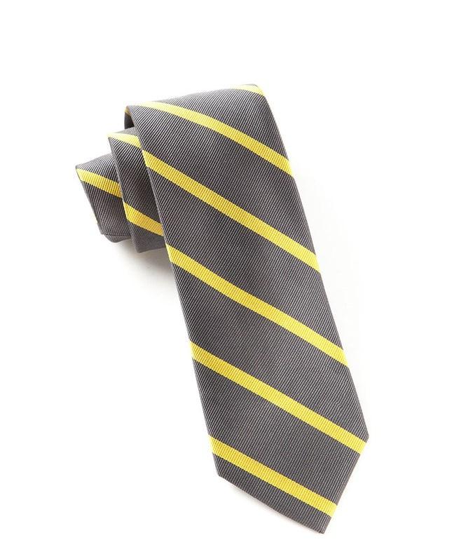 Trad Stripe Charcoal Tie