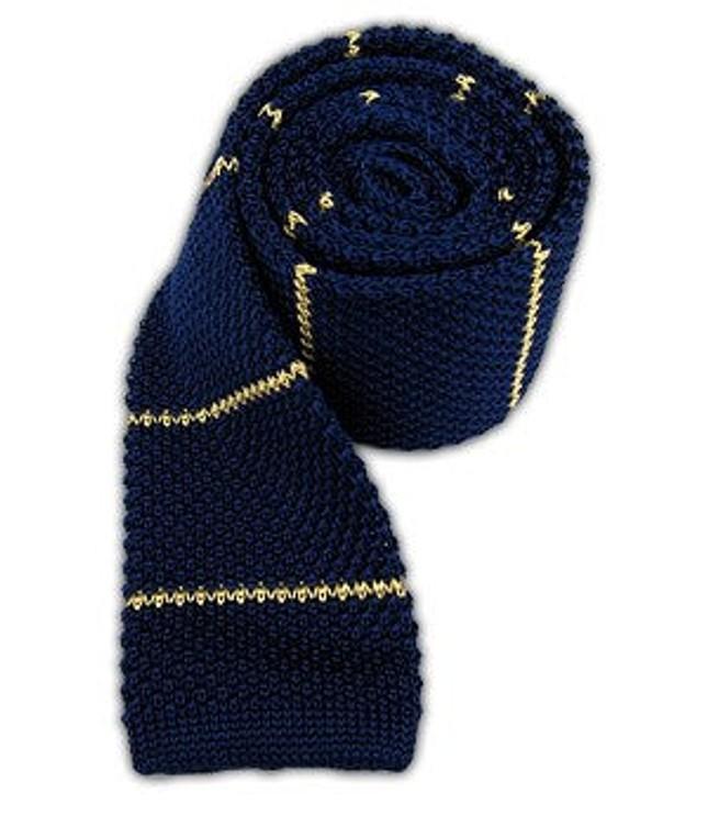Knit Stripe Blue Tie