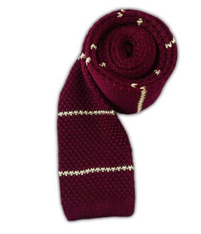 Knit Stripe Burgundy Tie