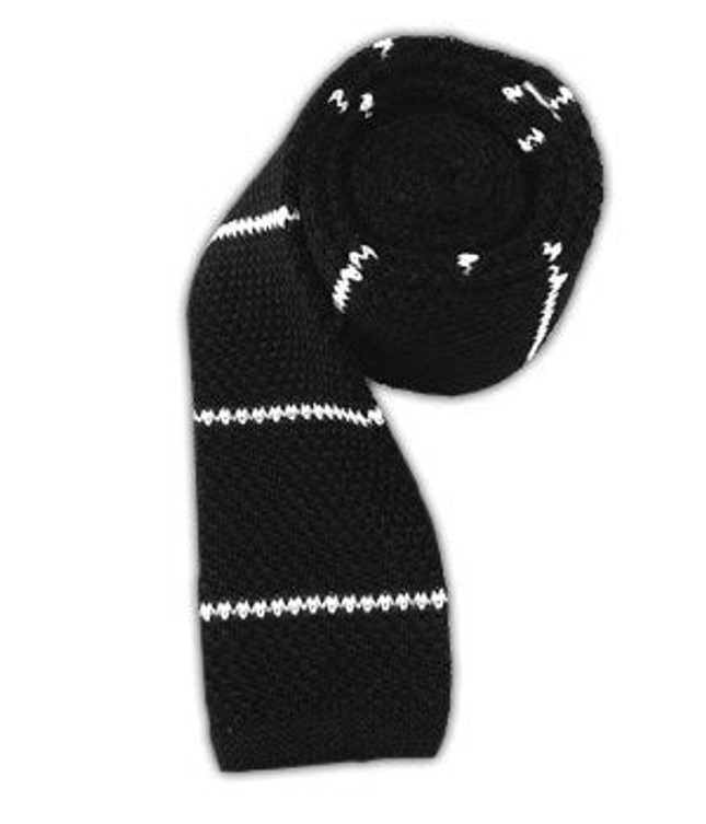 Knit Stripe Classic Black Tie