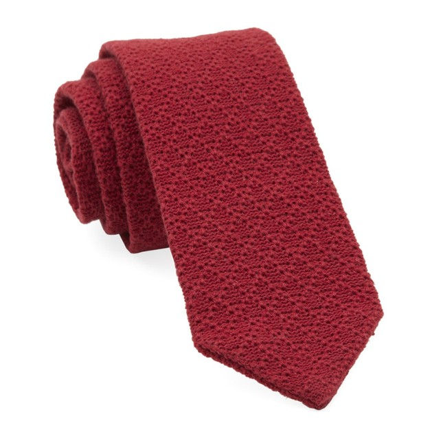 Textured Pointed Knit Red Tie