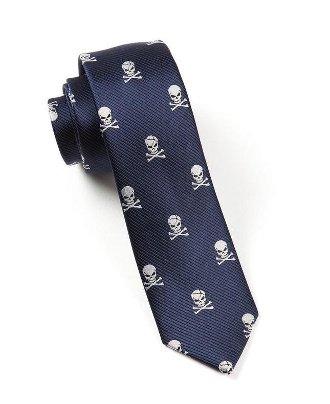 Skull And Crossbones Navy Tie