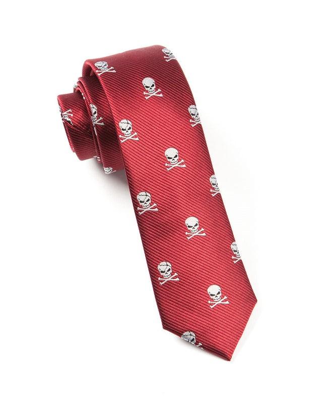 Skull And Crossbones Red Tie