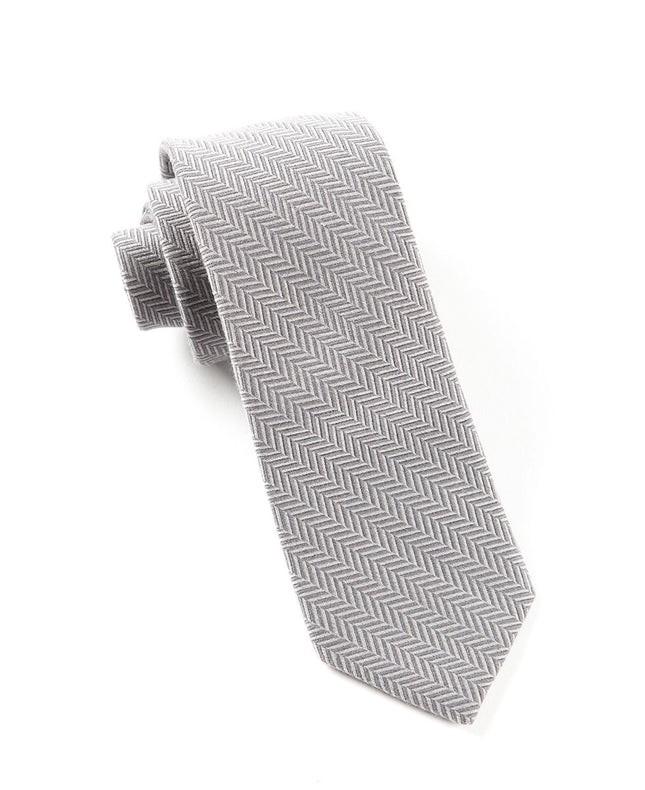 Wool Herringbone Grey Tie