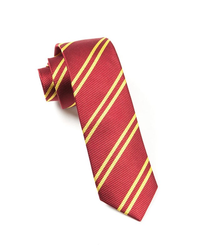Double Stripe Burgundy Tie
