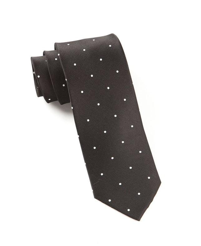Satin Dot Black Tie
