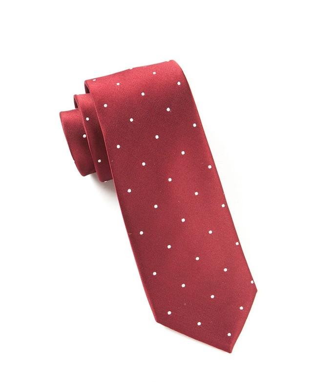 Satin Dot Burgundy Tie