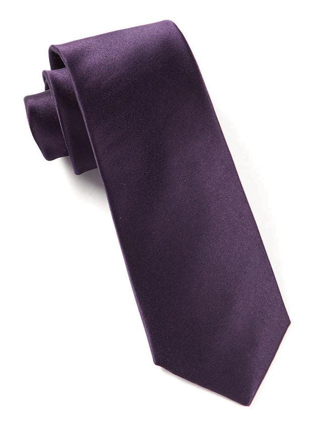 Solid Satin Eggplant Tie