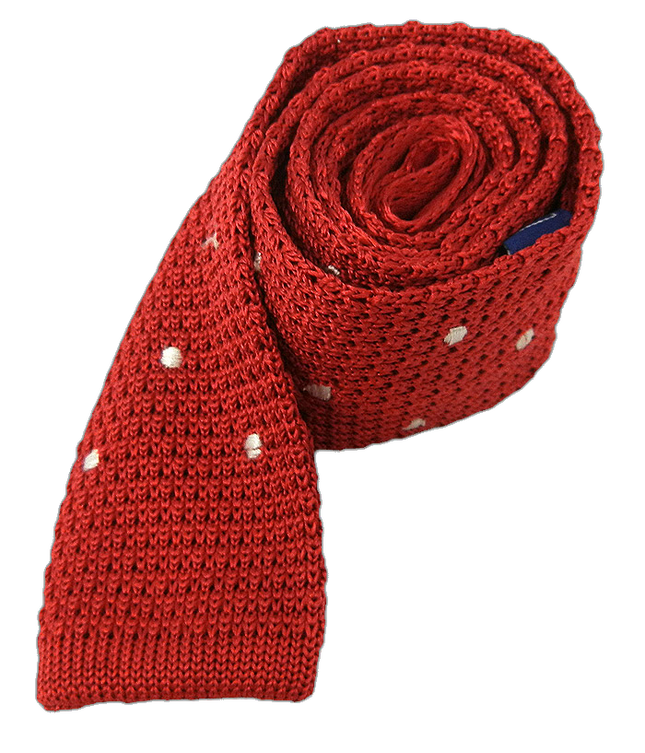 Knit Polkas Apple Red Tie