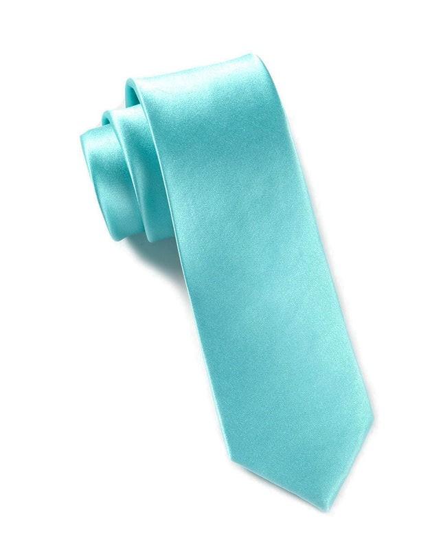 Solid Satin Pool Blue Tie