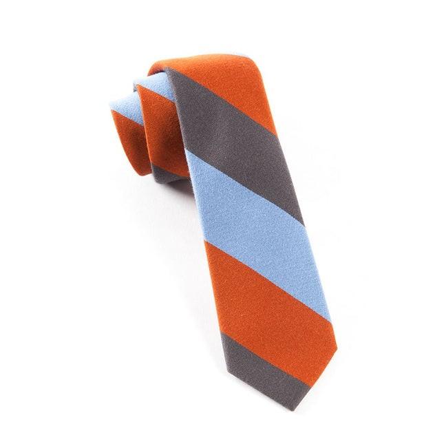 Big Wool Stripe Burnt Orange Tie