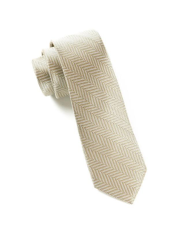 Native Herringbone Light Champagne Tie