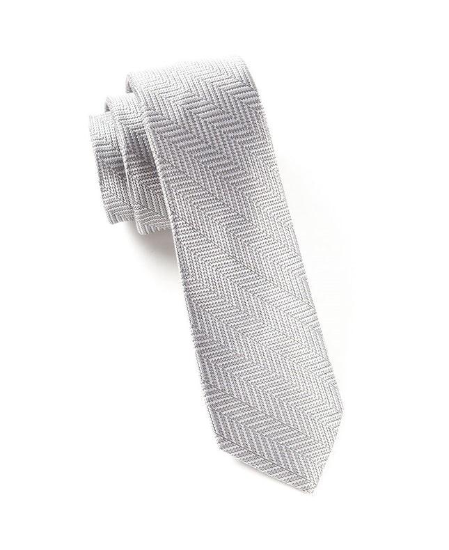 Native Herringbone Silver Tie