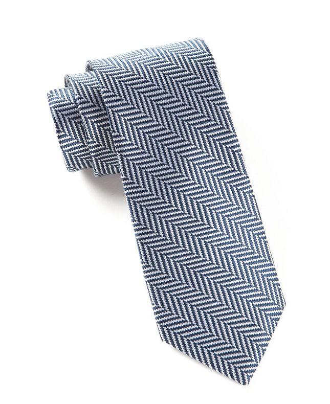 Native Herringbone Navy Tie