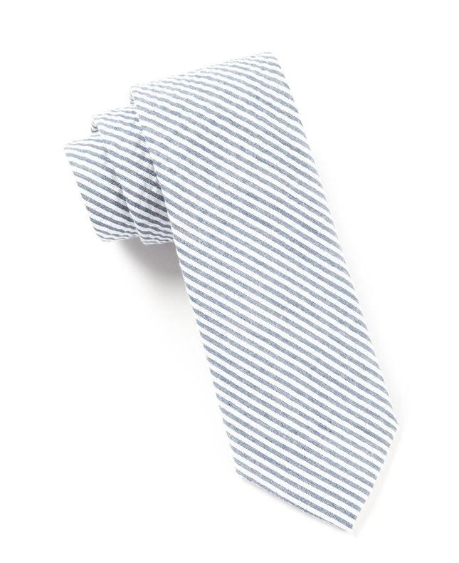 Seersucker Midnight Navy Tie