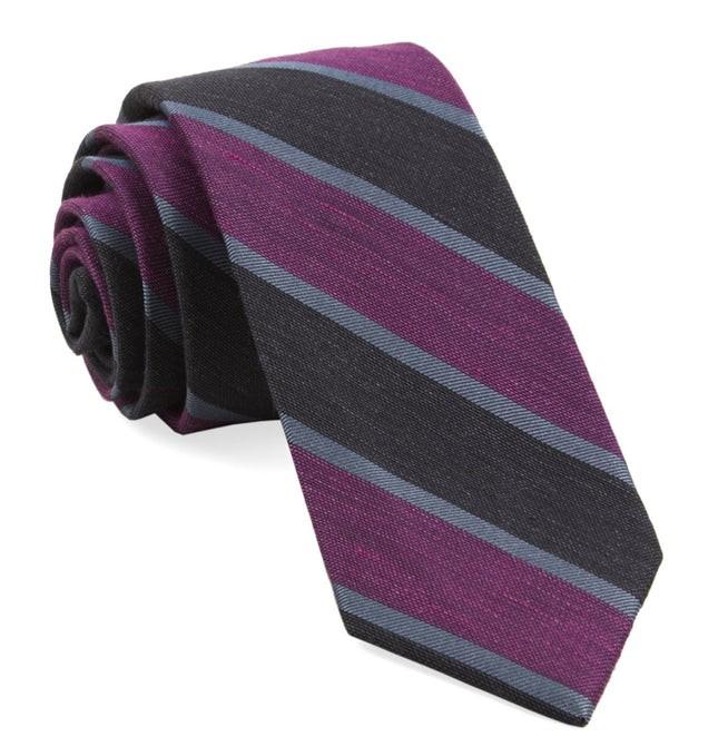 Linen Bold Stripe Azalea Tie