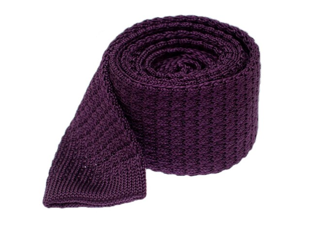 Textured Solid Knit Eggplant Tie