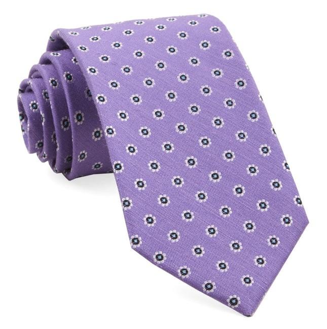 Half Moon Floral Purple Orchid Tie
