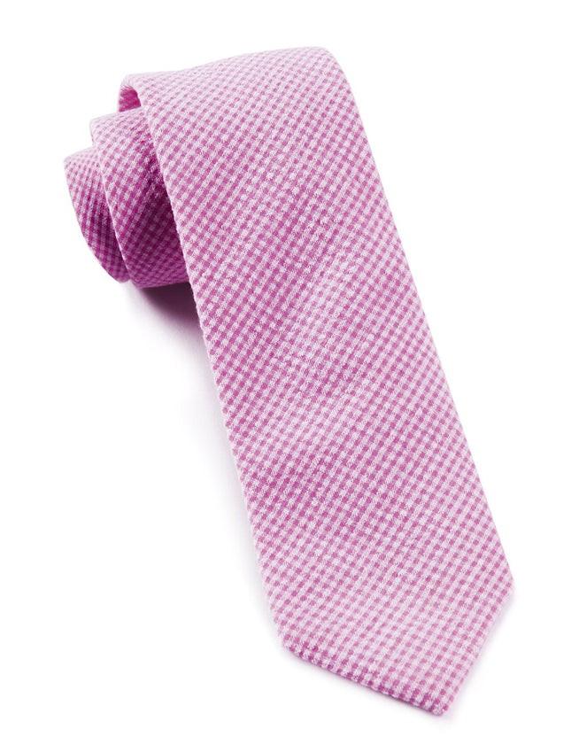 New Seersucker Gingham Pink Tie
