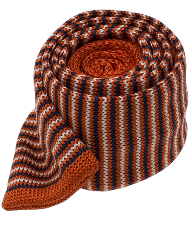 Knitted Piedmont Stripe Orange Tie