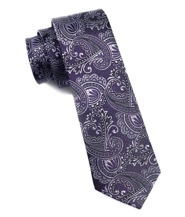 Twill Paisley Deep Eggplant Tie