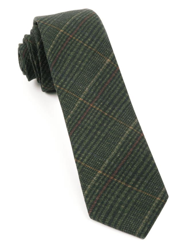 Wiseacre Wool Plaid Dark Clover Green Tie