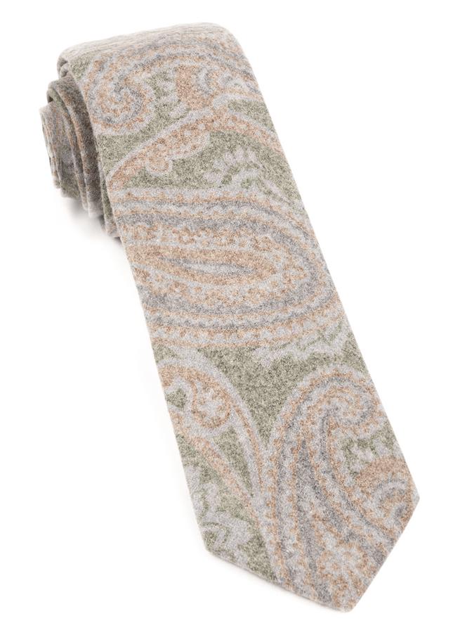 Printed Flannel Paisley Green Tie