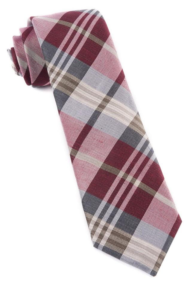 Crystal Wave Plaid Burgundy Tie