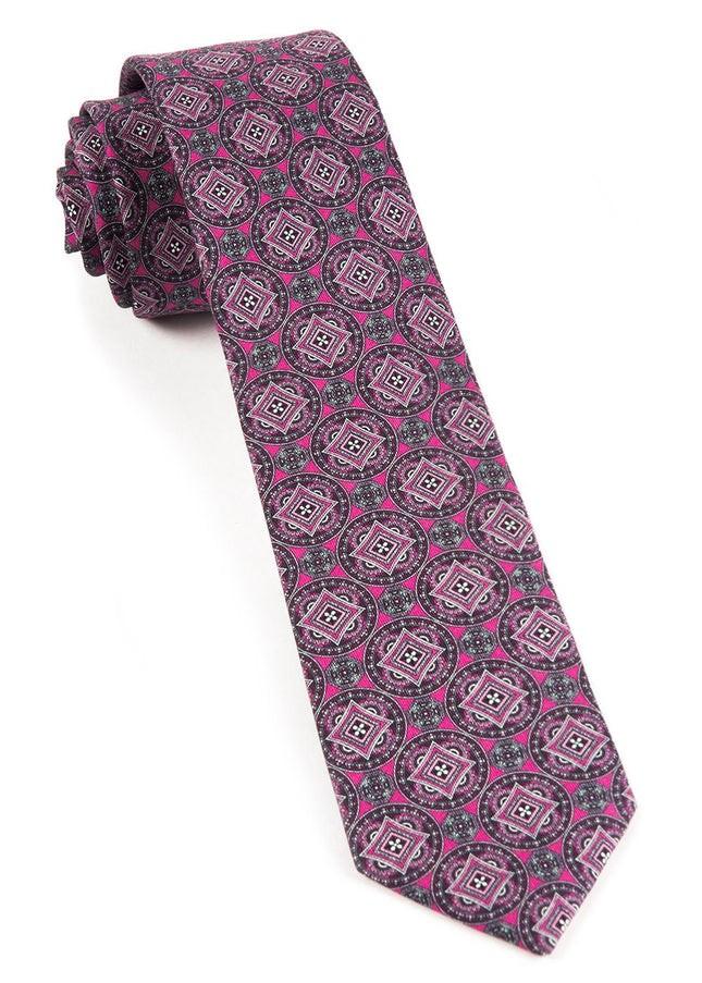 Medallion March Fuchsia Tie