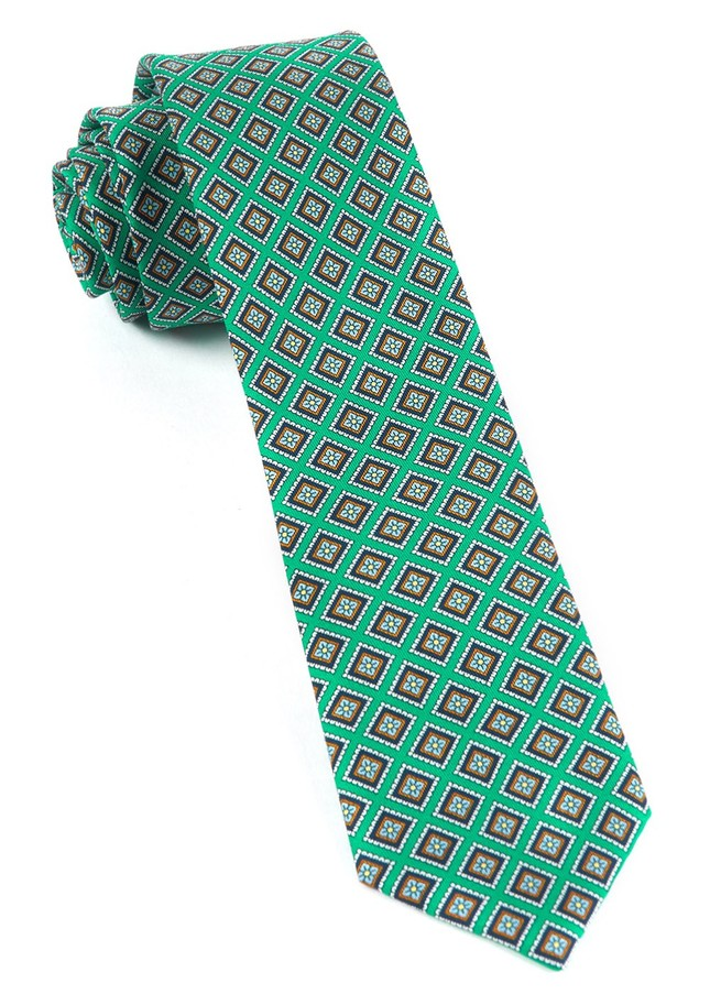 Silk Squarework Green Tie