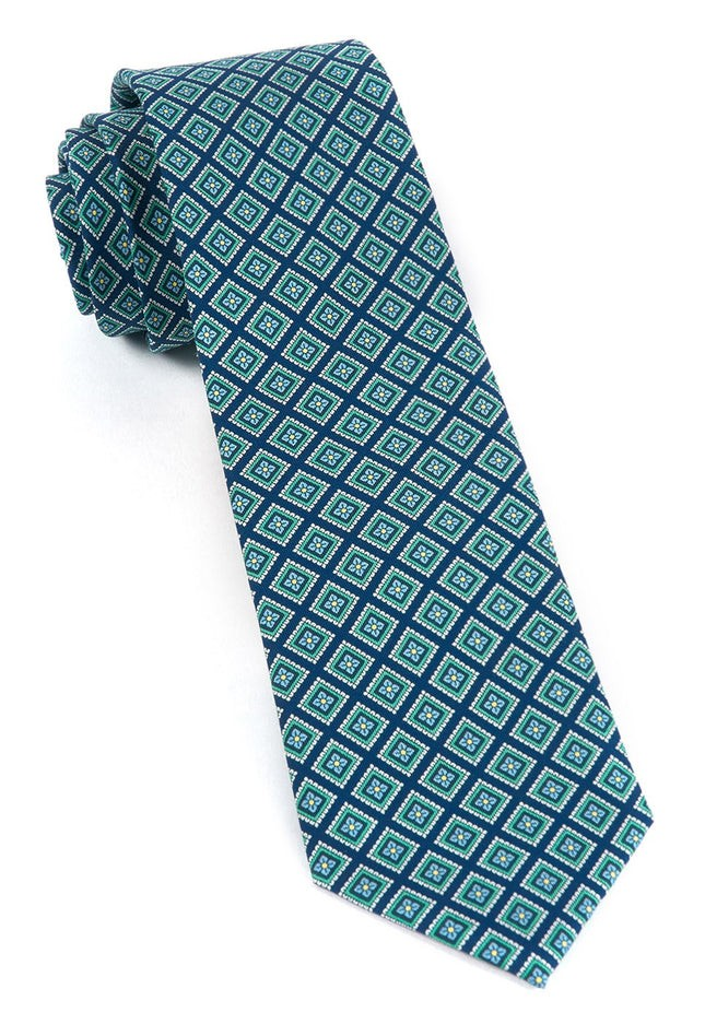 Silk Squarework Navy Tie