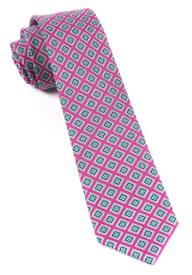 Silk Squarework Wild Pink Tie