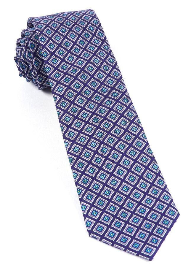 Silk Squarework Plum Tie